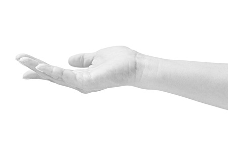 cradling: black and white closeup of a cradling hand of a female,  isolated on white background. Stock Photo