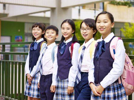 portrait of a group of asian elementary school children looking at camera smiling Stok Fotoğraf - 73124212