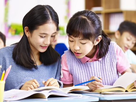 two asian elementary schoolgirls desk mates having a discussion during class in classroom. Stock Photo