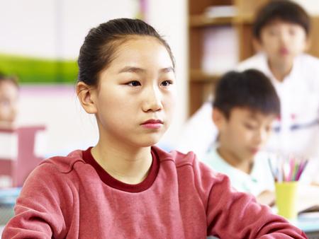 portrait of 11-year-old asian elementary schoolgirl Stock Photo