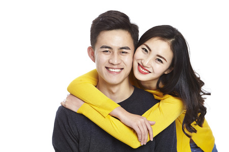 portrait of young and beautiful asian couple, isolated on white background.