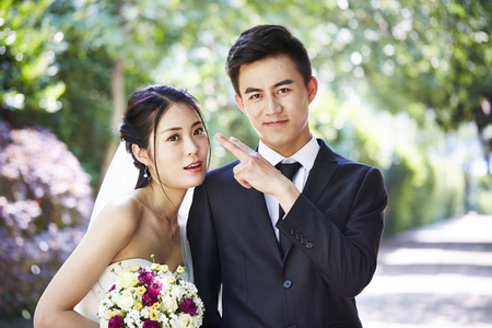結婚式のカップルを愛するのクローズ アップの肖像画。 写真素材