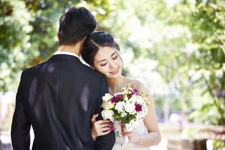portrait of young asian bride and groom at wedding ceremony.