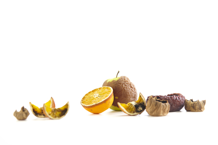 rotten fruits isolated on white background.