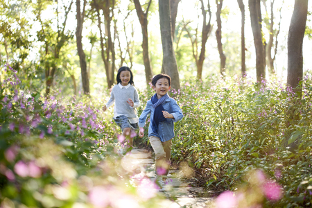 two little asian children boy and girl running through field of flowers in park. Фото со стока