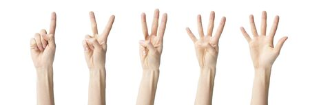 a collage of hands showing one two three four five, isolated on white background