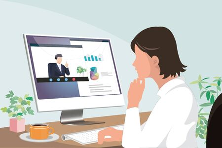 young asian business woman working from home watching presentation by a businessman on computer screen