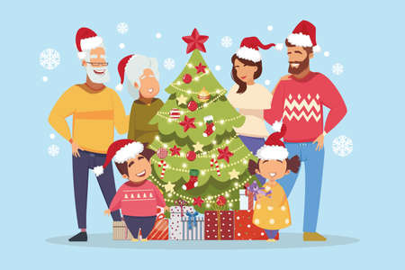 vector of a happy multi genreational family standing by christmas tree