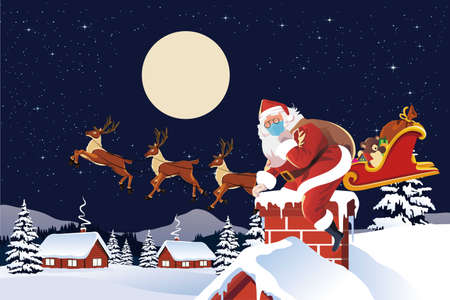 vector of santa claus arriving by sleigh ready to go down chimney