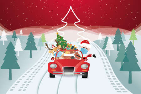 vector of santa claus arriving with christmas gifts in a car Vektorové ilustrace