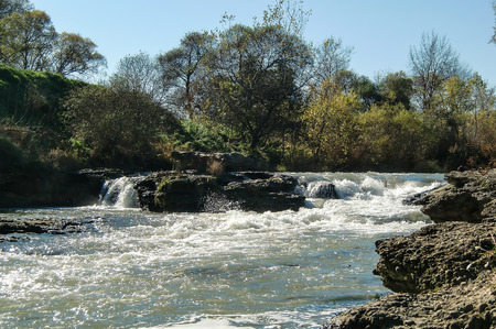 small waterfall on the river Stock Photo