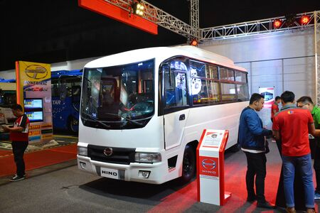 PASAY, PH - AUG. 17: Hino motors public utility vehicle on August 17, 2018 at Transport and Logistics in World Trade Center Metro Manila, Pasay, Philippines.