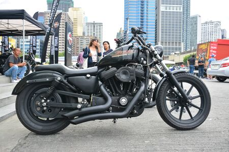 PASIG, PH - SEPT. 29: Harley Davidson Sportster motorcycle at Philippine Moto Heritage Weekend on September 29, 2019 in Metrotent Convention Center, Pasig, Philippines. Redakční