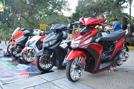 QUEZON CITY, PH - DEC. 28: Yamaha Mio motorcycle at Spades Auto Motor Show on December 28, 2019 in Quezon City, Philippines.