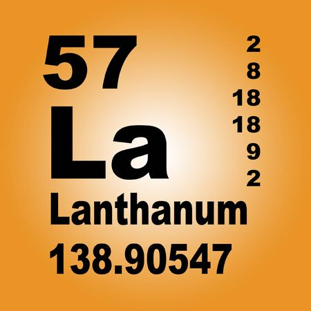 Lanthanum is a soft, ductile, silvery-white rare-earth metal element with symbol La and atomic number 57 Reklamní fotografie - 136517160