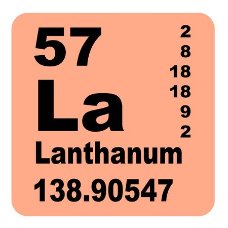 Lanthanum is a soft, ductile, silvery-white rare-earth metal element with symbol La and atomic number 57 Reklamní fotografie - 136517673