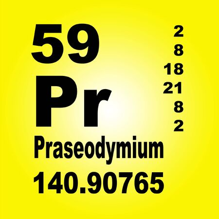 Praseodymium is a chemical element with symbol Pr and atomic number 59 Banco de Imagens