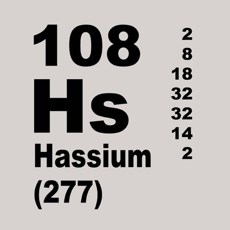 Hassium is a chemical element with symbol Hs and atomic number 108, named after the German state of Hesse. Stockfoto