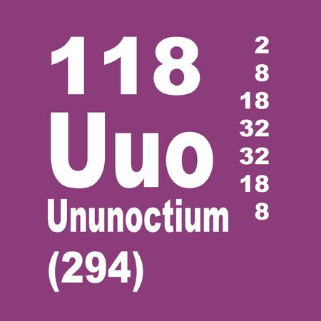 Ununoctium, also known as eka-radon or element 118, is the temporary IUPAC name for the transactinide element having the atomic number 118 and temporary element symbol Uuo Stock Photo