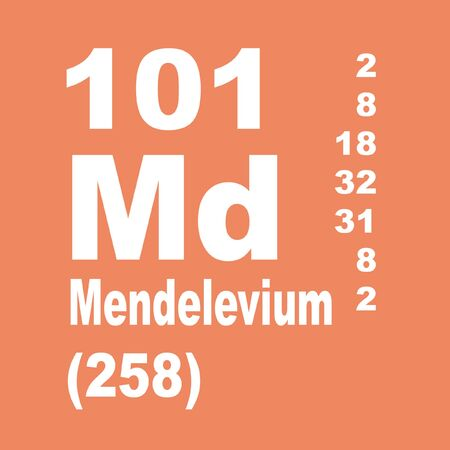 Mendelevium is a synthetic element with chemical symbol Md (formerly Mv) and atomic number 101 Stock Photo