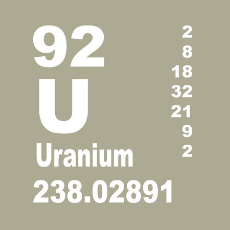 Uranium is a chemical element with symbol U and atomic number 92. Banque d'images