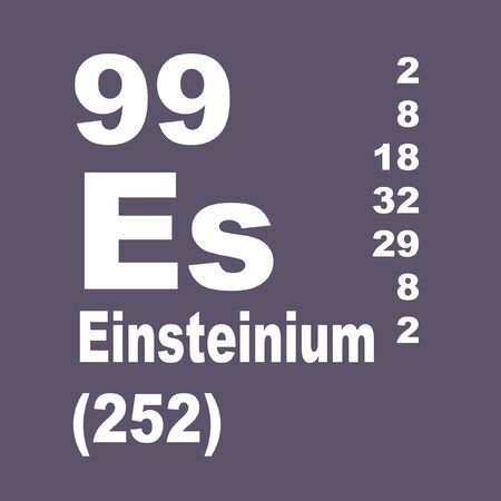 Einsteinium is a synthetic element with symbol Es and atomic number 99.