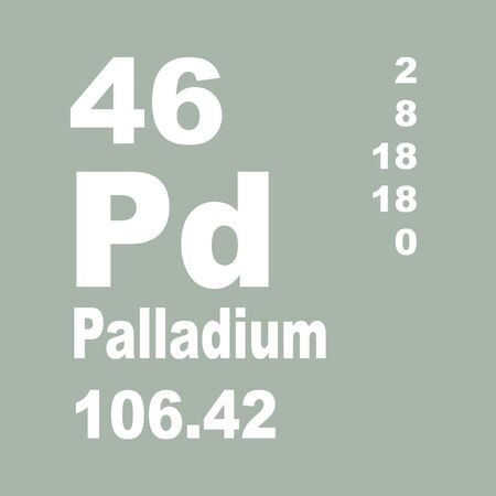 Palladium is a chemical element with symbol Pd and atomic number 46. Foto de archivo