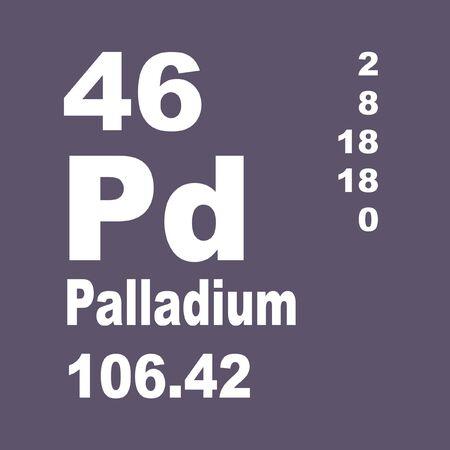 El paladio es un elemento químico de símbolo Pd y número atómico 46. Foto de archivo