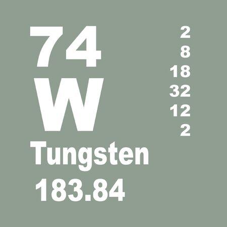 Le tungstène, également connu sous le nom de wolfram, est un élément chimique de symbole W et de numéro atomique 74. Banque d'images