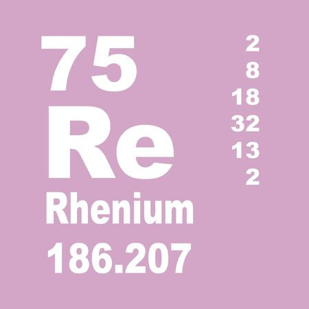 Rhenium is a chemical element with symbol Re and atomic number 75. Stock Photo
