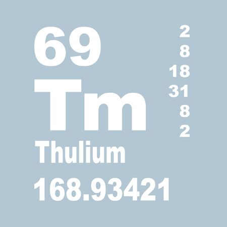 Thulium is a chemical element with symbol Tm and atomic number 69. Stock Photo