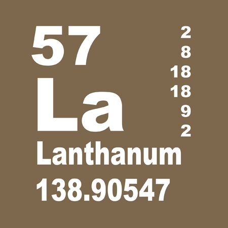 Lanthanum is a soft, ductile, silvery-white rare-earth metal element with symbol La and atomic number 57 Reklamní fotografie - 137351885