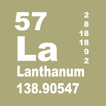 Lanthanum is a soft, ductile, silvery-white rare-earth metal element with symbol La and atomic number 57 Reklamní fotografie - 137351893