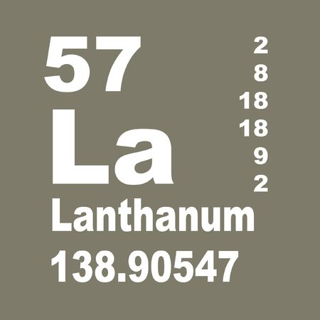 Lanthanum is a soft, ductile, silvery-white rare-earth metal element with symbol La and atomic number 57 Reklamní fotografie - 137351901