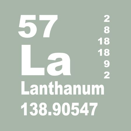 Lanthanum is a soft, ductile, silvery-white rare-earth metal element with symbol La and atomic number 57 Reklamní fotografie - 137351923