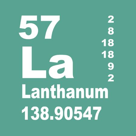 Lanthanum is a soft, ductile, silvery-white rare-earth metal element with symbol La and atomic number 57 Reklamní fotografie - 136689061