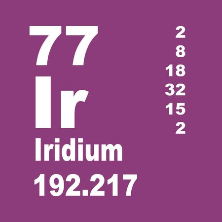 Iridium is a chemical element with symbol Ir and atomic number 77. Stock Photo - 137351955