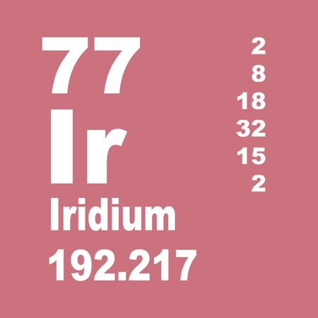 Iridium is a chemical element with symbol Ir and atomic number 77. Stock Photo - 137351977