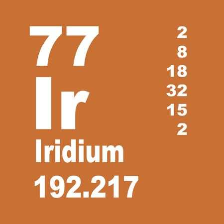Iridium is a chemical element with symbol Ir and atomic number 77. Stock Photo - 137351984