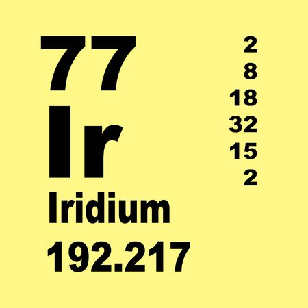Iridium is a chemical element with symbol Ir and atomic number 77. Stock Photo - 136689377