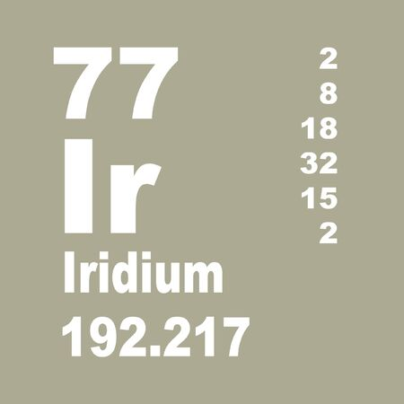Iridium is a chemical element with symbol Ir and atomic number 77. Stock Photo - 137351998