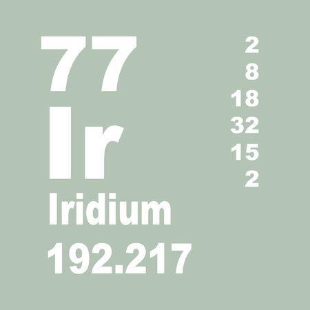 Iridium is a chemical element with symbol Ir and atomic number 77. Stock Photo - 137352008