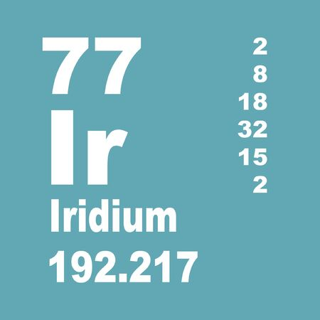 Iridium is a chemical element with symbol Ir and atomic number 77. Stock Photo - 137352009
