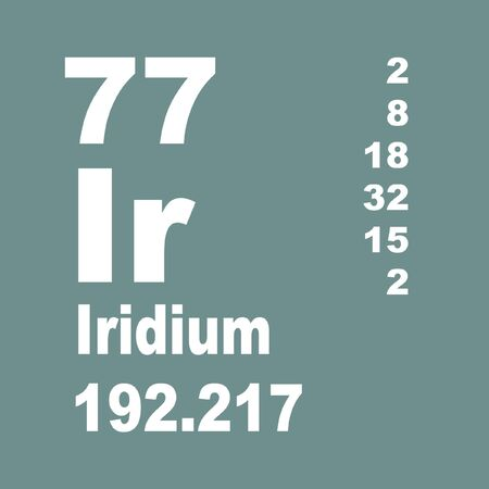 Iridium is a chemical element with symbol Ir and atomic number 77. Stock Photo - 137352014