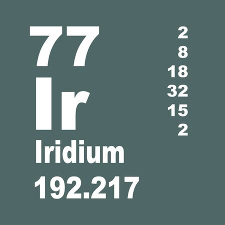 Iridium is a chemical element with symbol Ir and atomic number 77. Stock Photo - 137352016