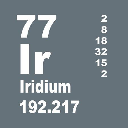 Iridium is a chemical element with symbol Ir and atomic number 77. Stock Photo - 137352018