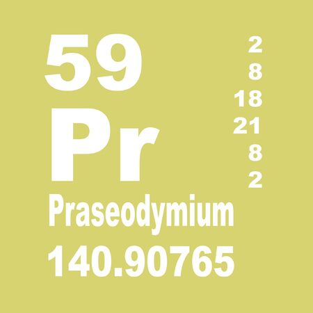 Praseodymium is a chemical element with symbol Pr and atomic number 59 Stock Photo