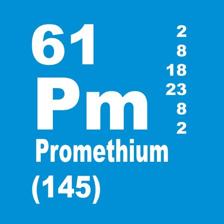Promethium, originally prometheum, is a chemical element with symbol Pm and atomic number 61 Stockfoto