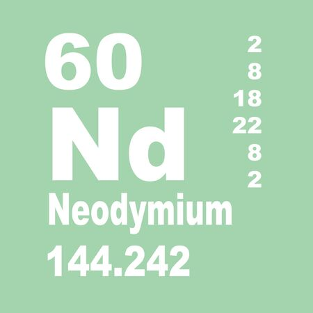 Neodymium is a chemical element with symbol Nd and atomic number 60 Stock Photo