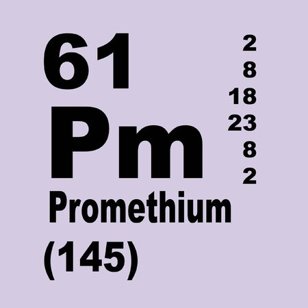 Promethium, originally prometheum, is a chemical element with symbol Pm and atomic number 61 写真素材